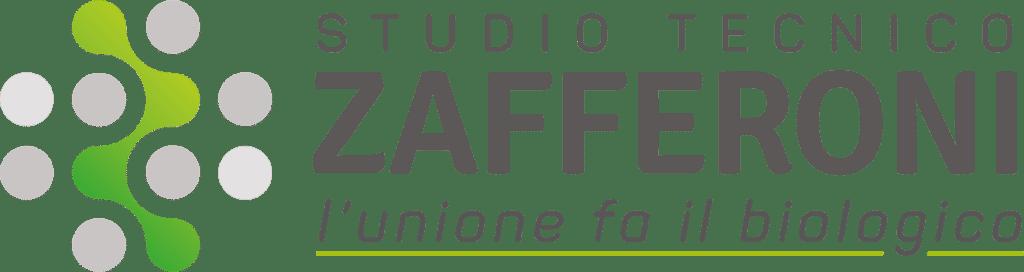 """Logo grafico dello Studio Tecnico Zafferoni e scritta """"Studio Tecnico Zafferoni"""" con il motto """"l'unione fa il biologico""""."""